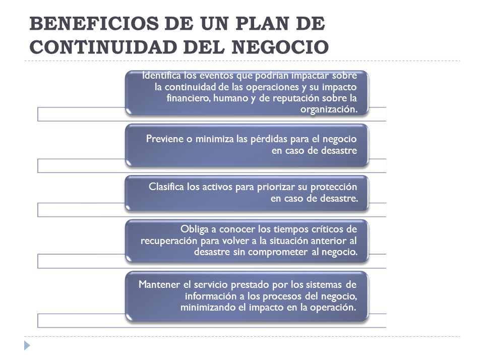 BENEFICIOS DE UN PLAN DE CONTINUIDAD DEL NEGOCIO