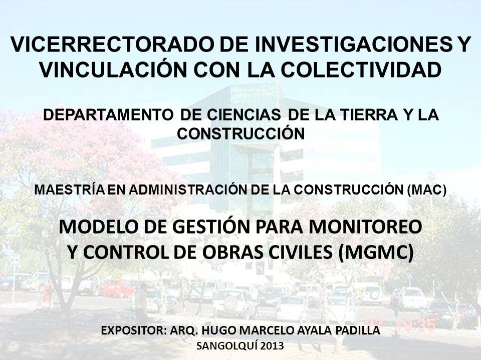 MODELO DE GESTIÓN PARA MONITOREO Y CONTROL DE OBRAS CIVILES (MGMC)