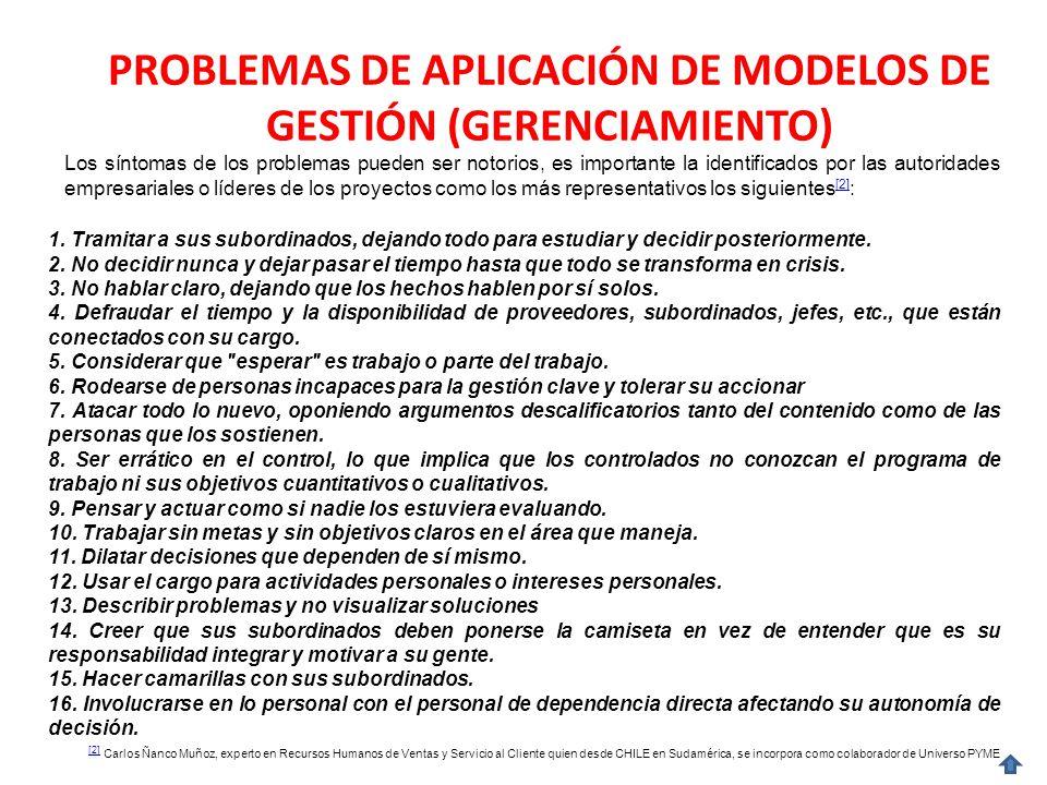 PROBLEMAS DE APLICACIÓN DE MODELOS DE GESTIÓN (GERENCIAMIENTO)