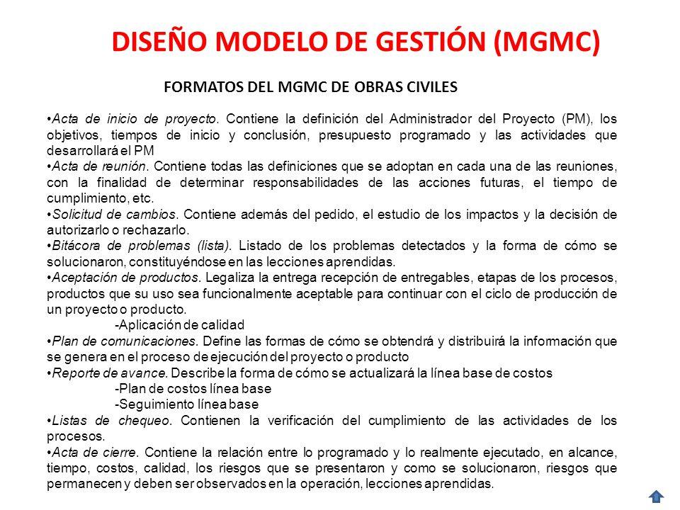 DISEÑO MODELO DE GESTIÓN (MGMC) FORMATOS DEL MGMC DE OBRAS CIVILES