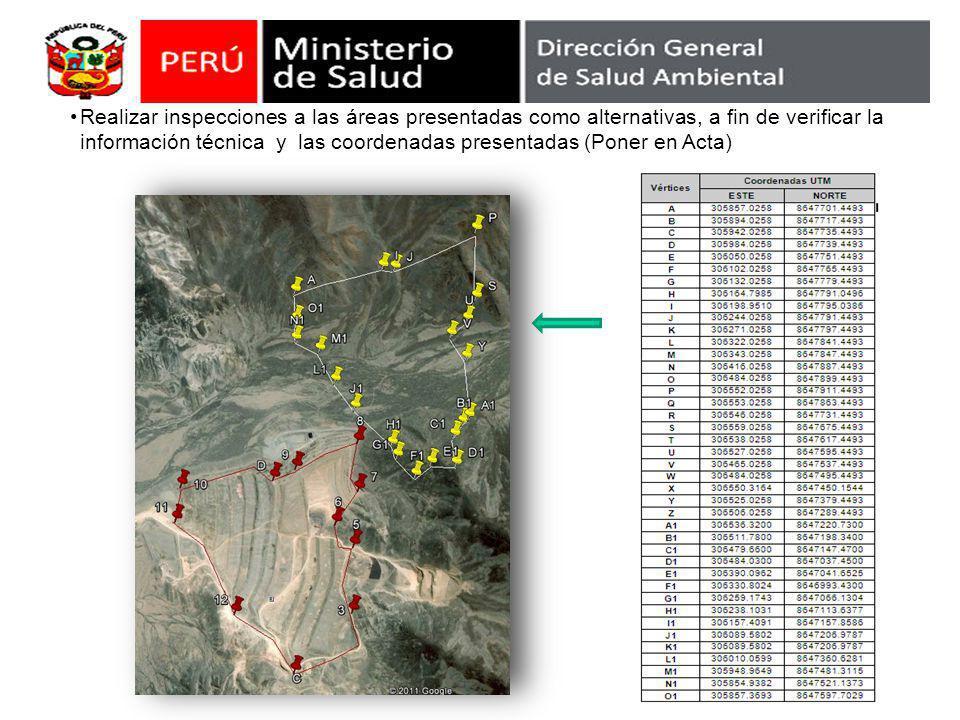 Realizar inspecciones a las áreas presentadas como alternativas, a fin de verificar la información técnica y las coordenadas presentadas (Poner en Acta)
