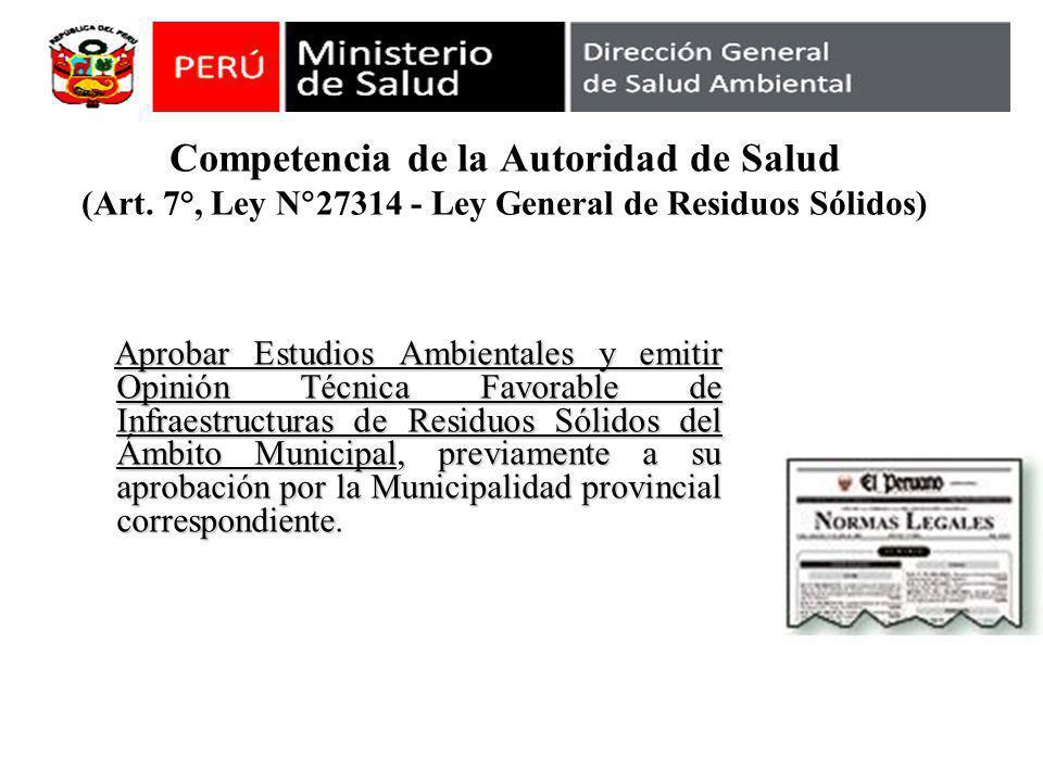Competencia de la Autoridad de Salud (Art