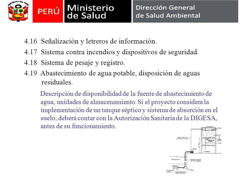 4.16 Señalización y letreros de información.