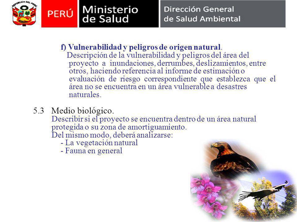 5.3 Medio biológico. f) Vulnerabilidad y peligros de origen natural.