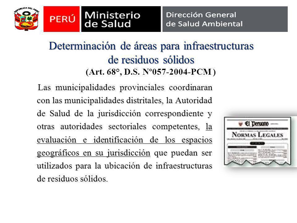 Determinación de áreas para infraestructuras de residuos sólidos (Art
