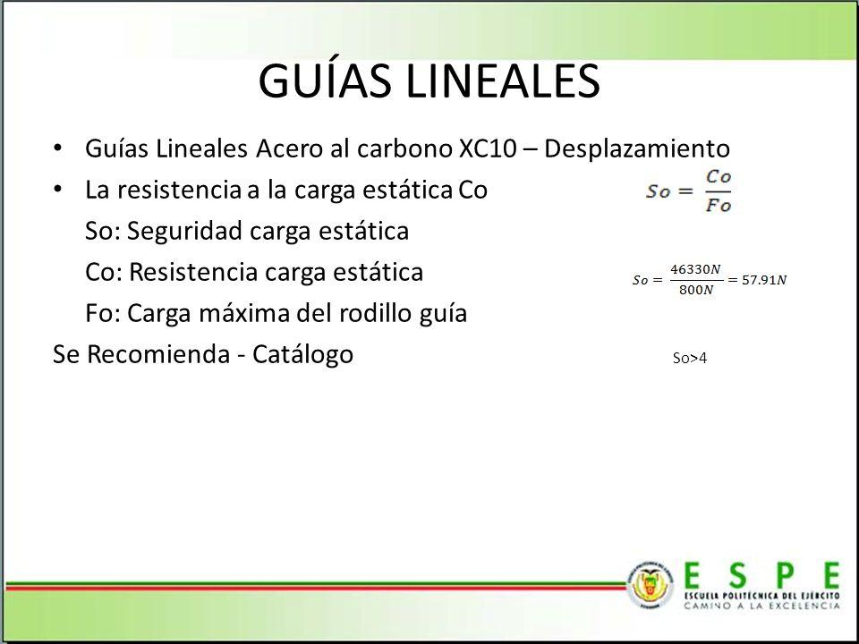 GUÍAS LINEALES Guías Lineales Acero al carbono XC10 – Desplazamiento
