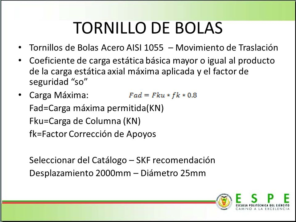 TORNILLO DE BOLAS Tornillos de Bolas Acero AISI 1055 – Movimiento de Traslación.
