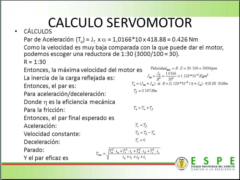 CALCULO SERVOMOTOR CÁLCULOS
