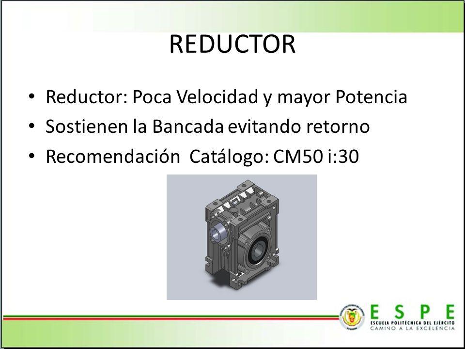 REDUCTOR Reductor: Poca Velocidad y mayor Potencia