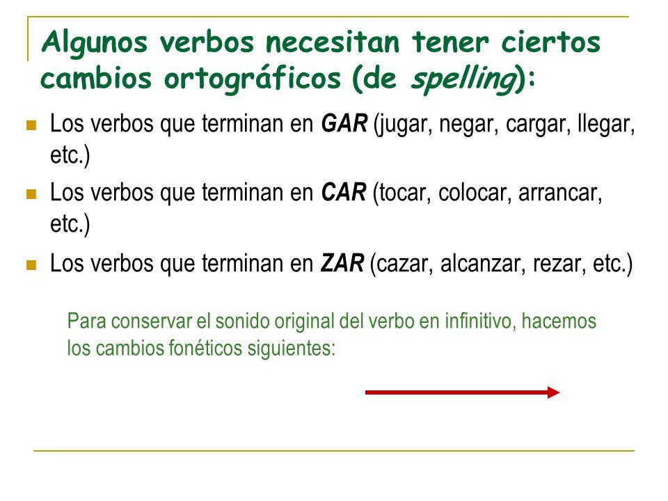 Algunos verbos necesitan tener ciertos cambios ortográficos (de spelling):