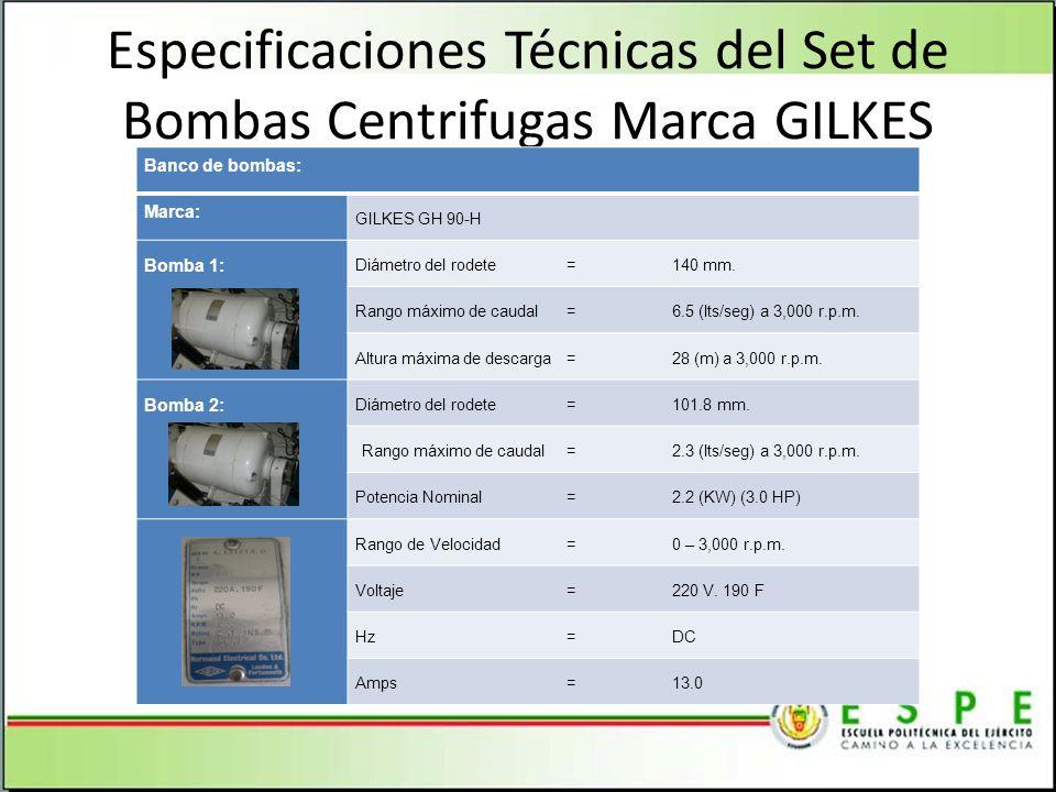 Especificaciones Técnicas del Set de Bombas Centrifugas Marca GILKES
