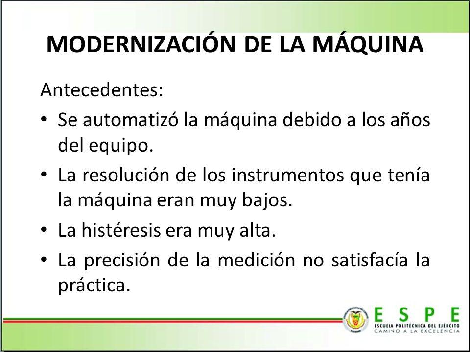 MODERNIZACIÓN DE LA MÁQUINA