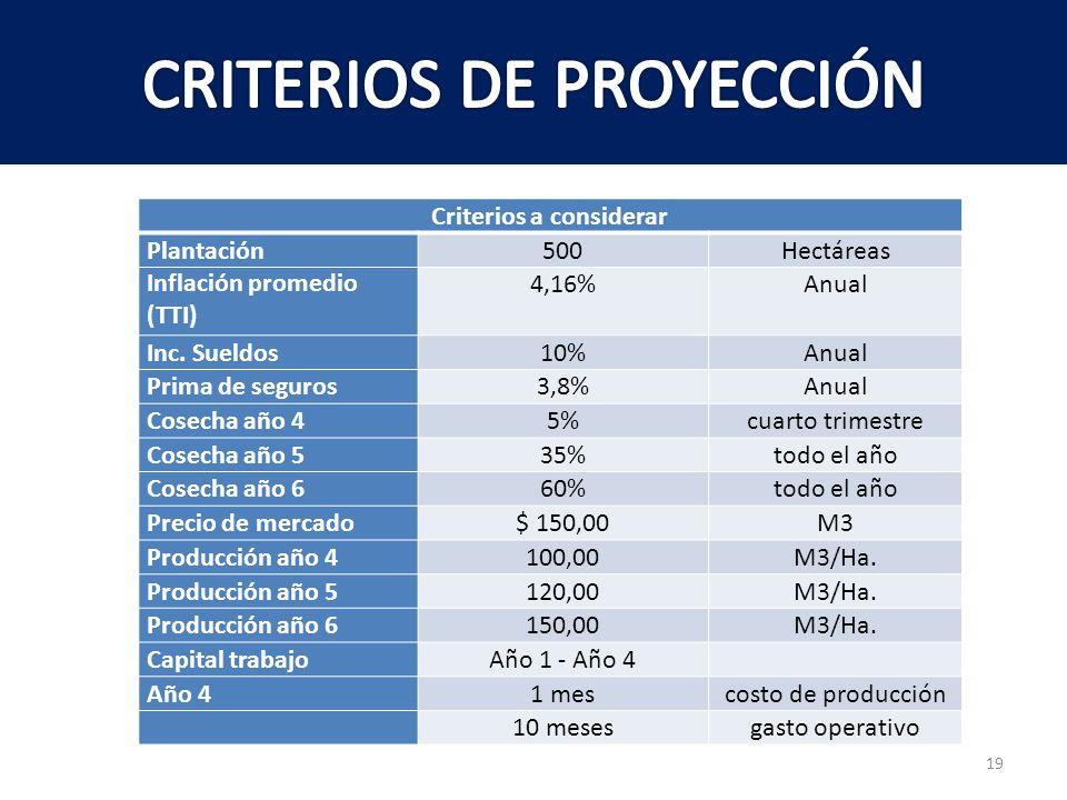 CRITERIOS DE PROYECCIÓN
