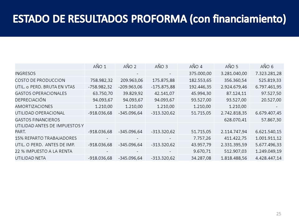 ESTADO DE RESULTADOS PROFORMA (con financiamiento)