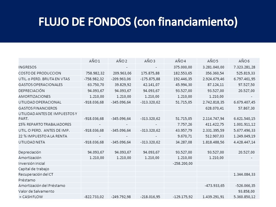 FLUJO DE FONDOS (con financiamiento)