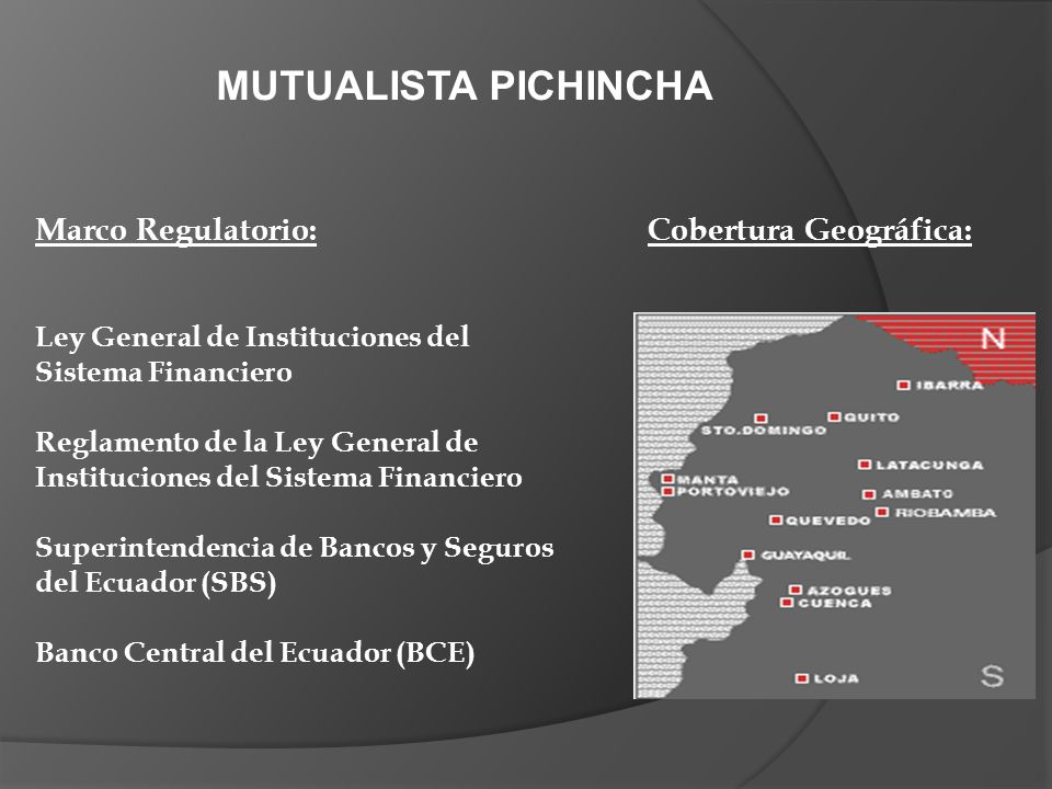MUTUALISTA PICHINCHA Marco Regulatorio: Cobertura Geográfica: