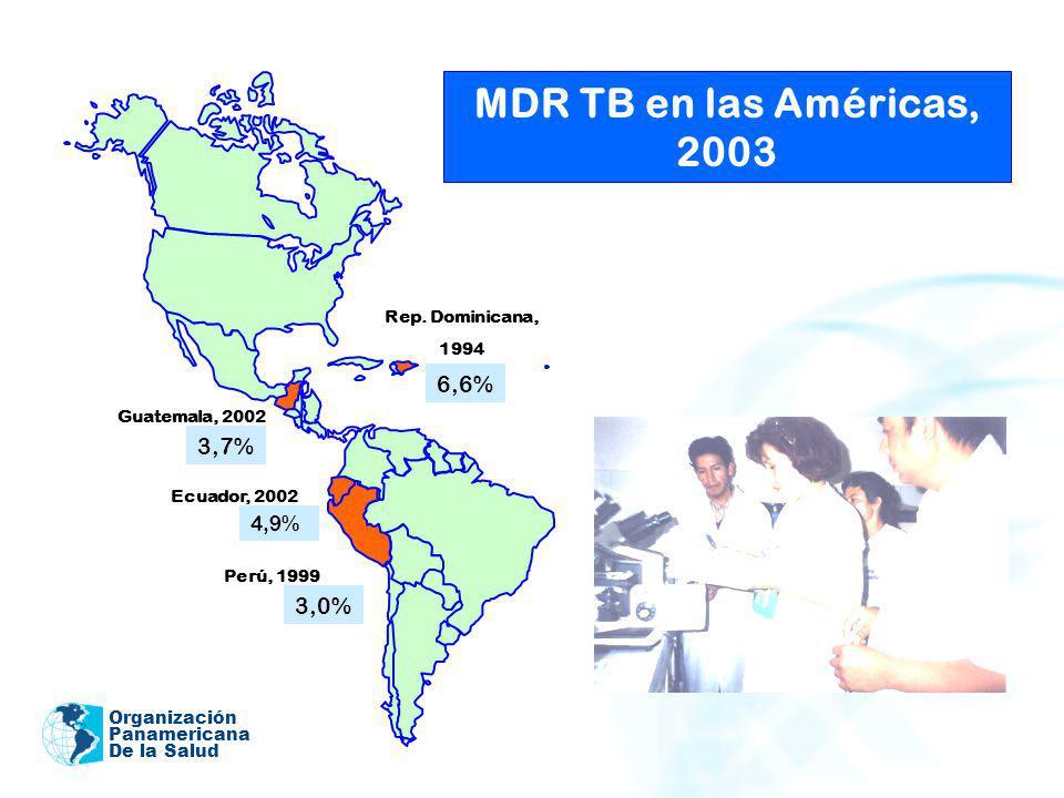 MDR TB en las Américas, 2003 6,6% 3,7% 3,0% 4,9% Rep. Dominicana, 1994