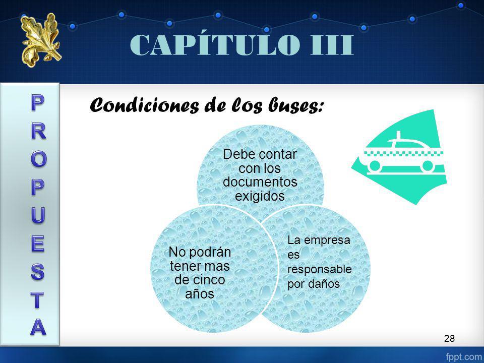 CAPÍTULO III PROPUESTA Condiciones de los buses: