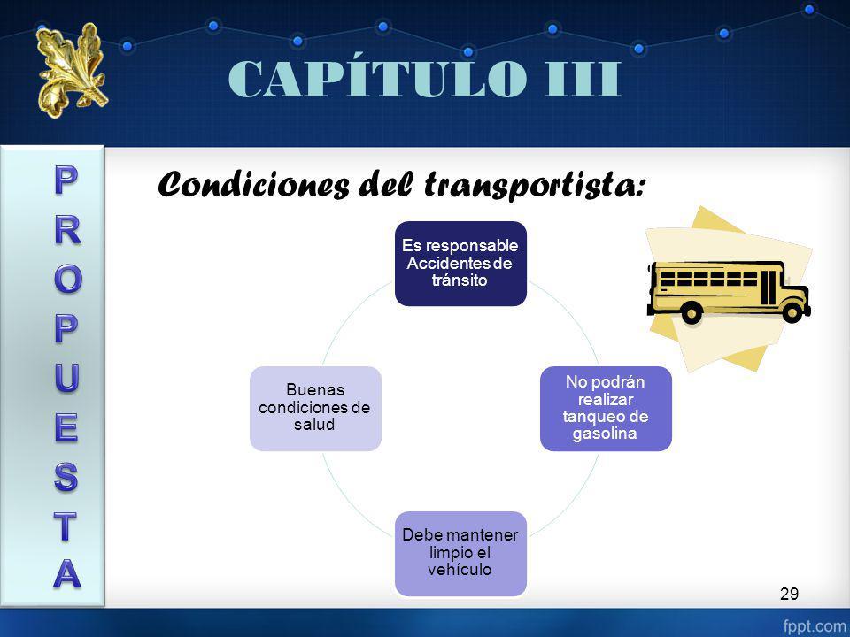 CAPÍTULO III PROPUESTA Condiciones del transportista: