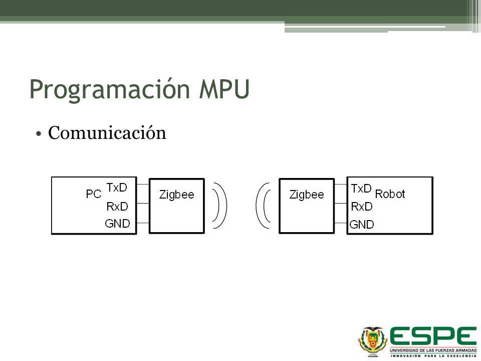 Programación MPU Comunicación Bits por Segundo 57600 Bits de datos 8