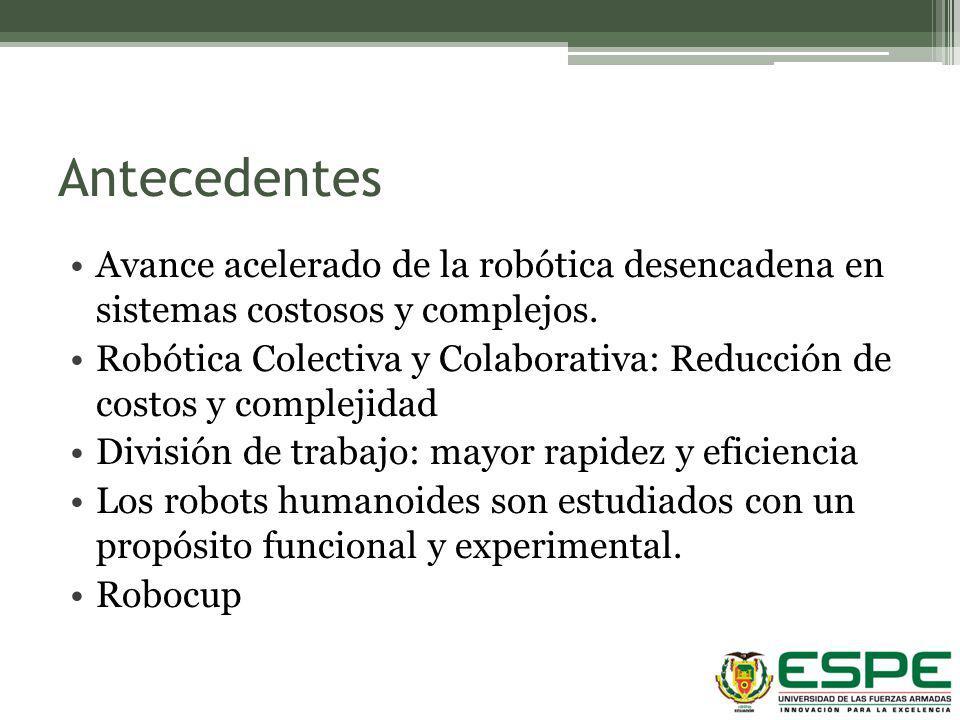 Antecedentes Avance acelerado de la robótica desencadena en sistemas costosos y complejos.