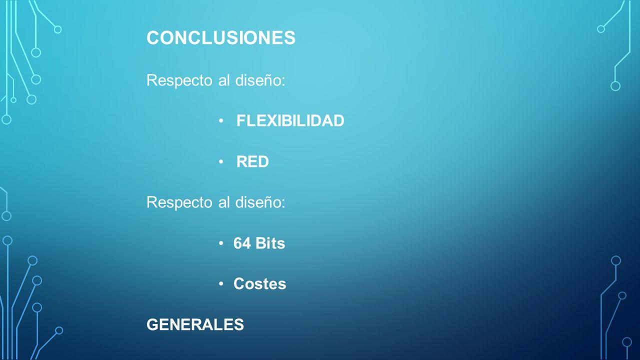 CONCLUSIONES Respecto al diseño: FLEXIBILIDAD RED 64 Bits Costes
