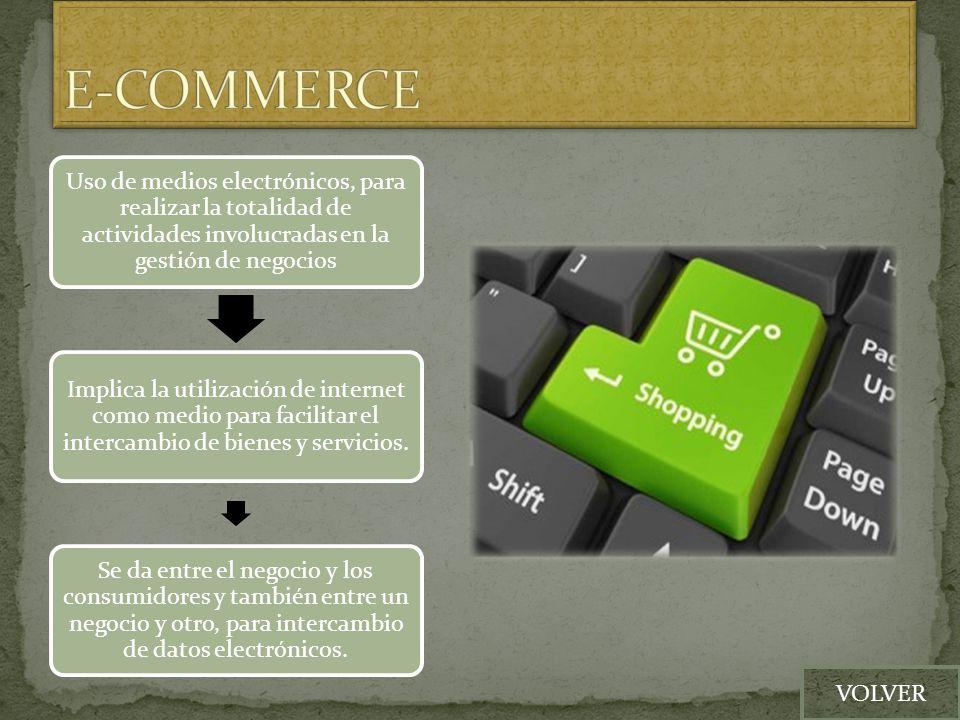E-COMMERCE Uso de medios electrónicos, para realizar la totalidad de actividades involucradas en la gestión de negocios.