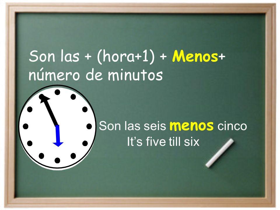 Son las + (hora+1) + Menos+ número de minutos
