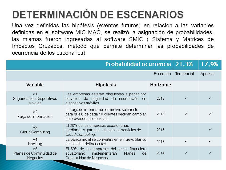 DETERMINACIÓN DE ESCENARIOS