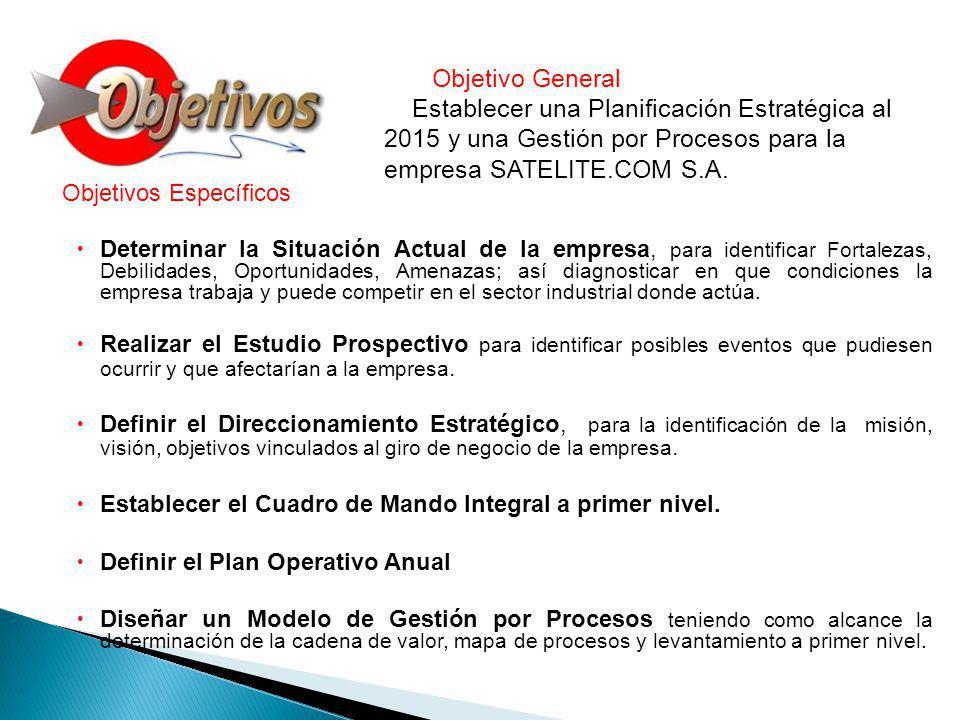 Objetivo General Establecer una Planificación Estratégica al 2015 y una Gestión por Procesos para la empresa SATELITE.COM S.A.