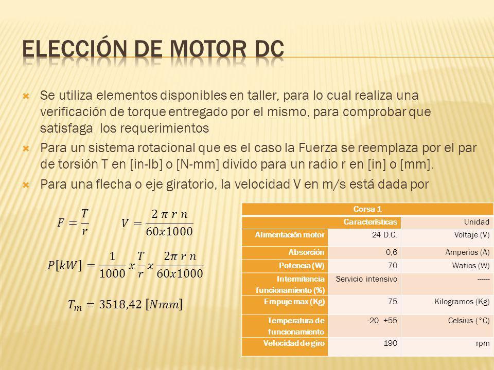 Elección de motor dc