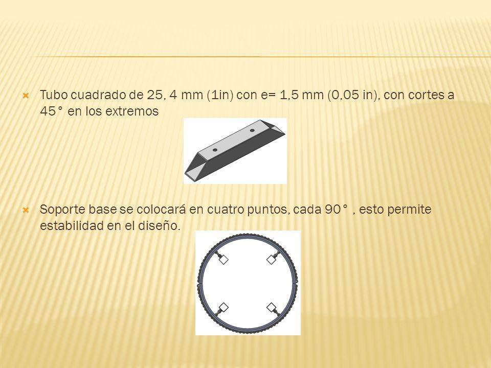 Tubo cuadrado de 25, 4 mm (1in) con e= 1,5 mm (0,05 in), con cortes a 45° en los extremos