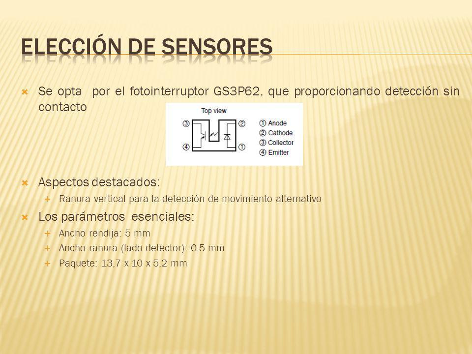 Elección de sensores Se opta por el fotointerruptor GS3P62, que proporcionando detección sin contacto.