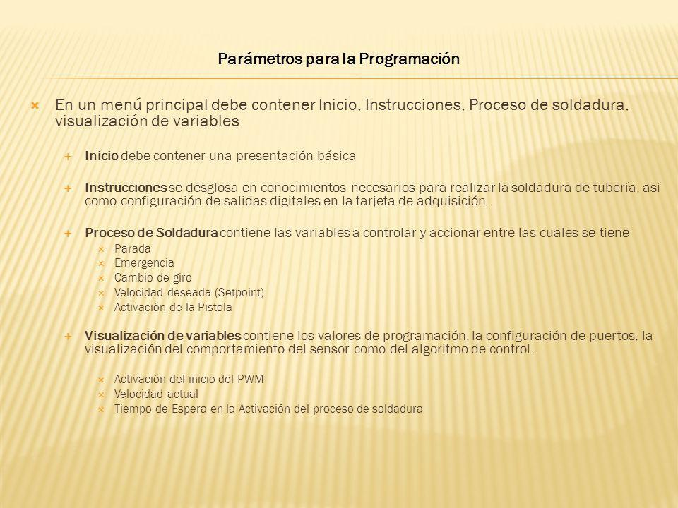 Parámetros para la Programación