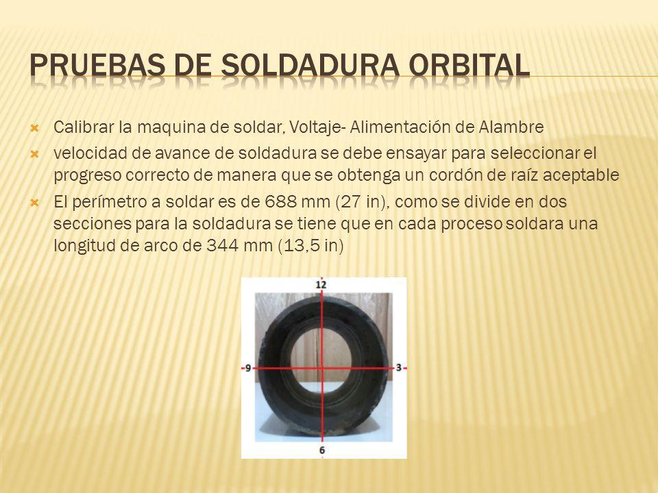 Pruebas de soldadura orbital