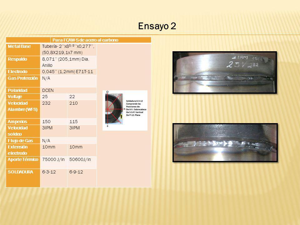 Ensayo 2 Para FCAW-S de acero al carbono Metal Base