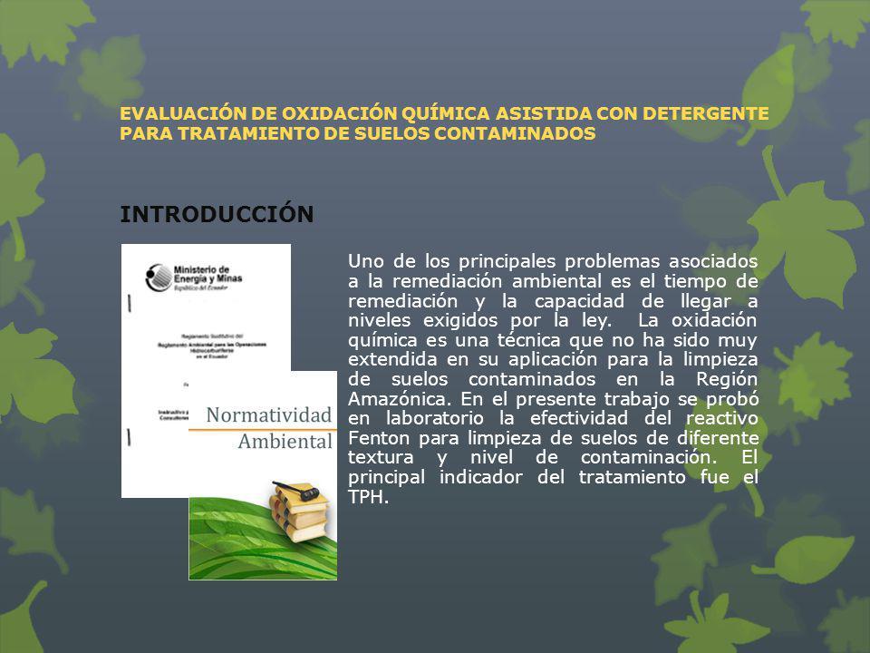 EVALUACIÓN DE OXIDACIÓN QUÍMICA ASISTIDA CON DETERGENTE PARA TRATAMIENTO DE SUELOS CONTAMINADOS
