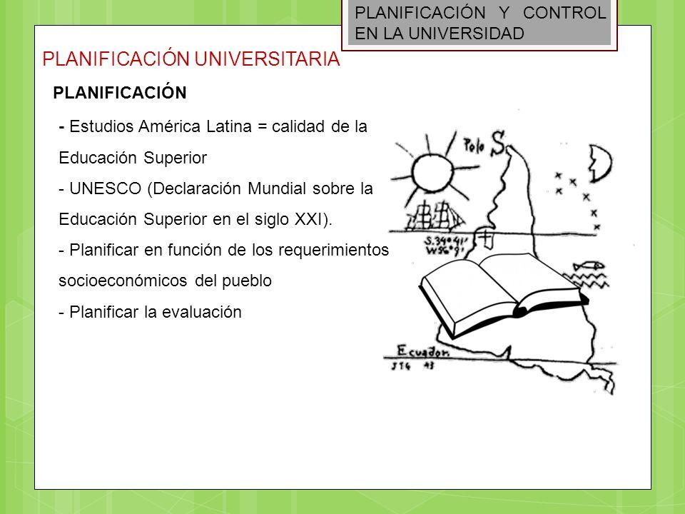 PLANIFICACIÓN Y CONTROL EN LA UNIVERSIDAD