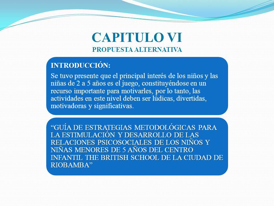 CAPITULO VI PROPUESTA ALTERNATIVA