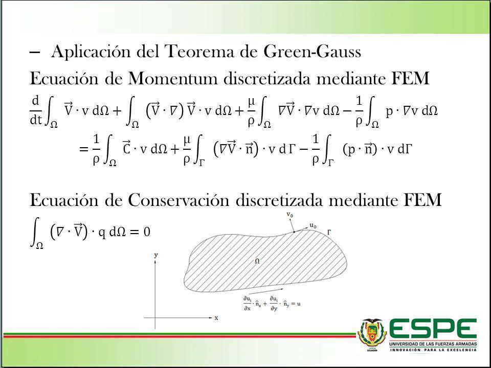 Aplicación del Teorema de Green-Gauss