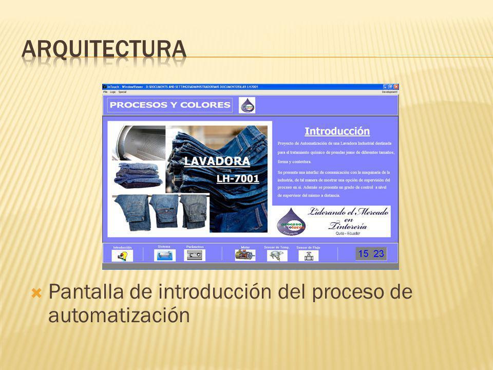 Arquitectura Pantalla de introducción del proceso de automatización