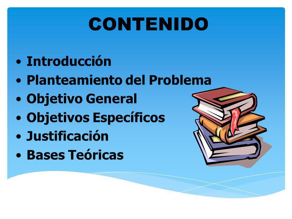 CONTENIDO Introducción Planteamiento del Problema Objetivo General
