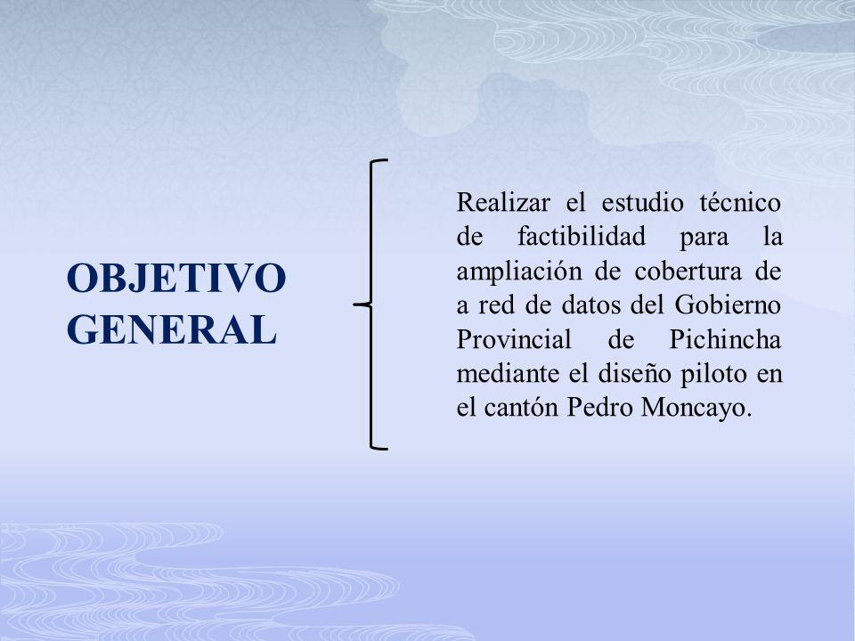 Realizar el estudio técnico de factibilidad para la ampliación de cobertura de a red de datos del Gobierno Provincial de Pichincha mediante el diseño piloto en el cantón Pedro Moncayo.