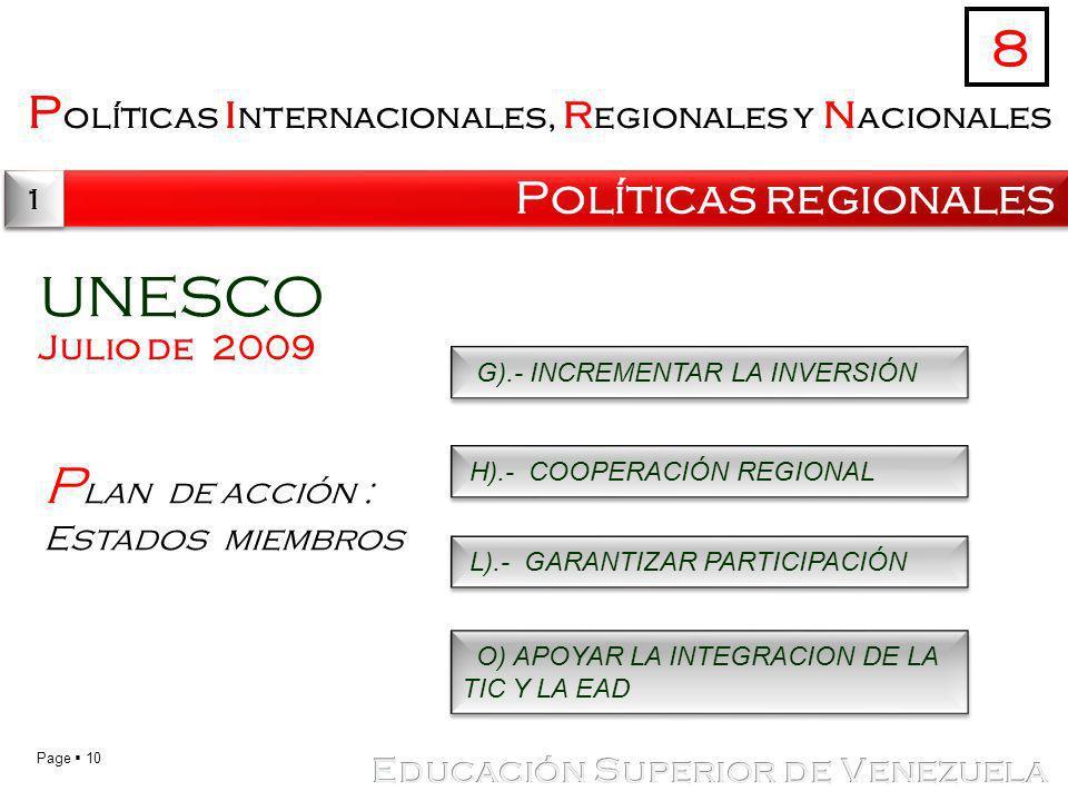 UNESCO 8 Plan de acción : Estados miembros