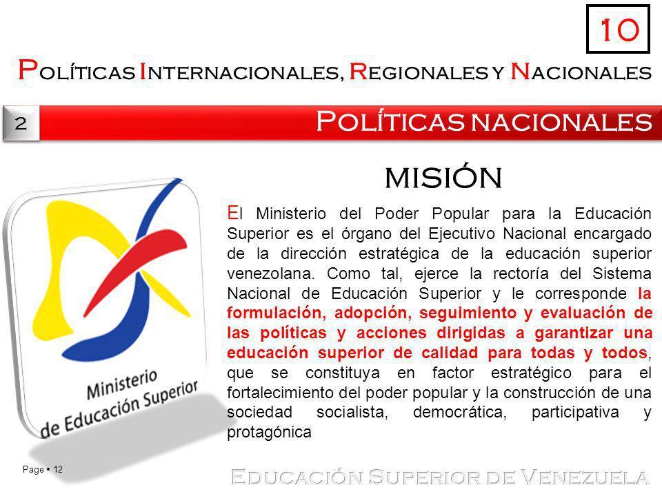 10 Políticas internacionales, regionales y nacionales