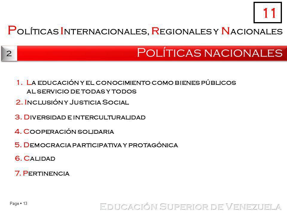 11 Políticas internacionales, regionales y nacionales