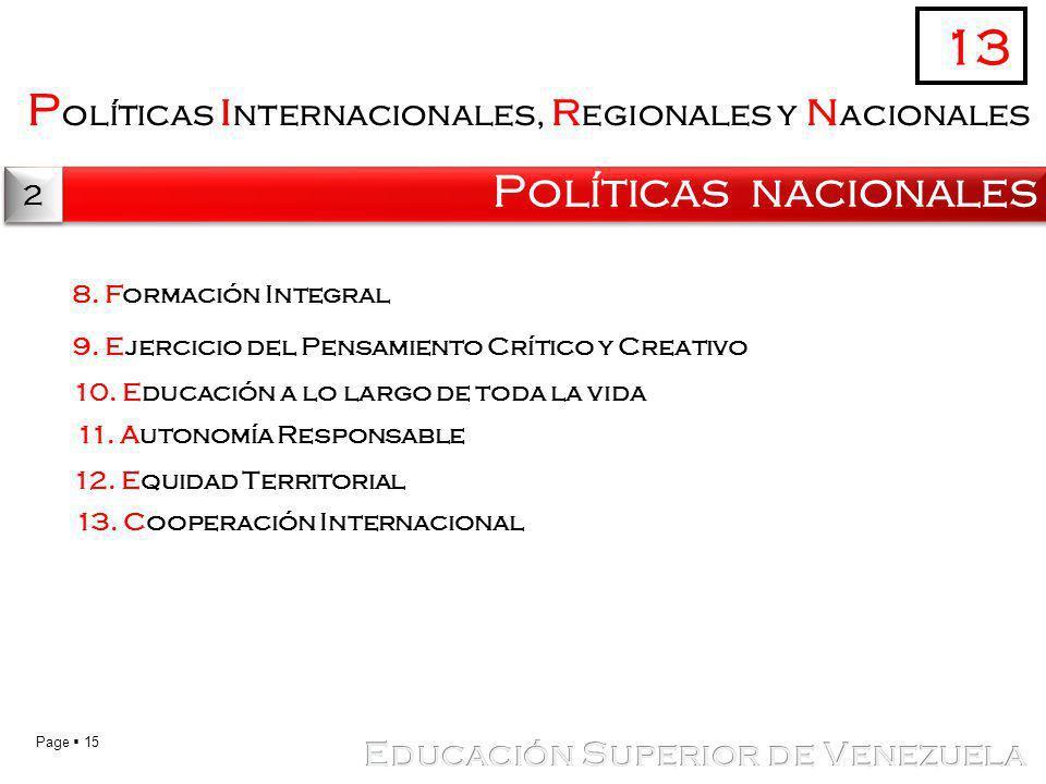 13 Políticas internacionales, regionales y nacionales
