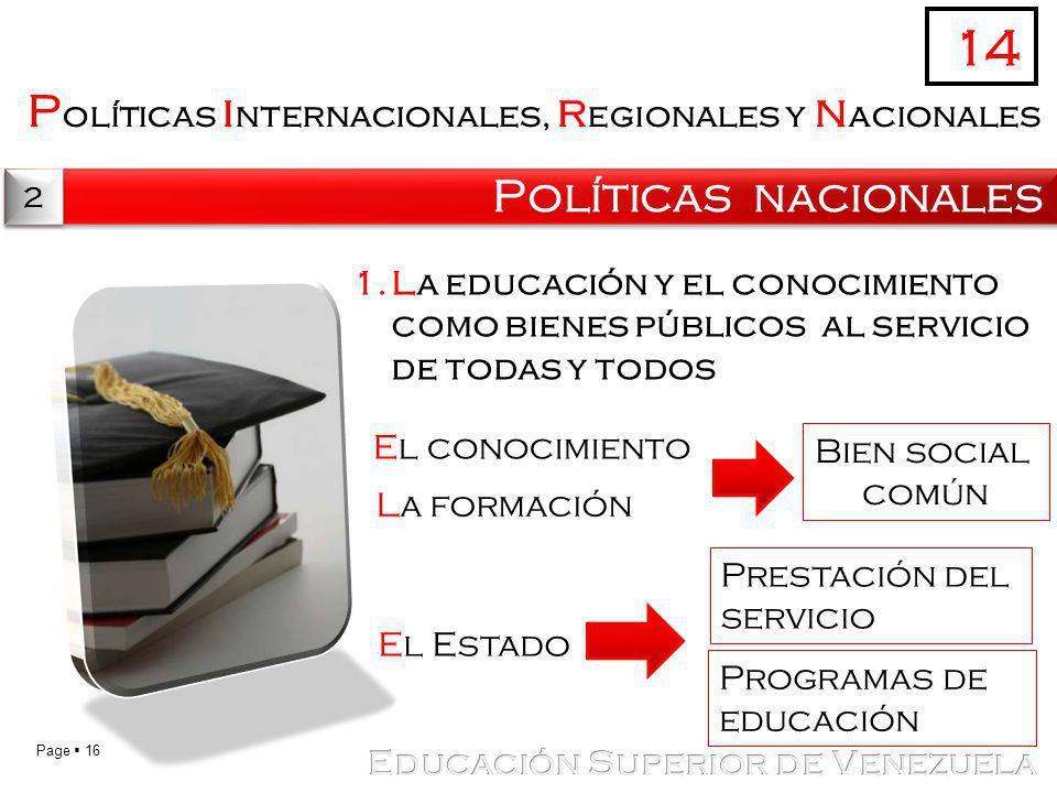 14 Políticas internacionales, regionales y nacionales