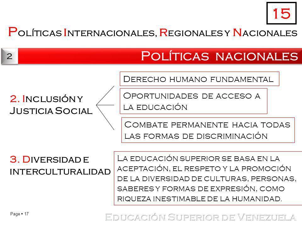 15 Políticas internacionales, regionales y nacionales