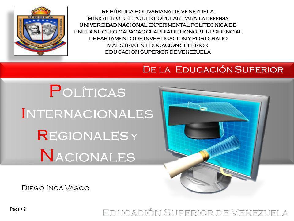 Políticas internacionales regionales y Nacionales